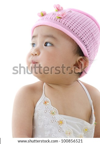 Beautiful 10 month old pan asian baby girl in pink flower hat - stock photo