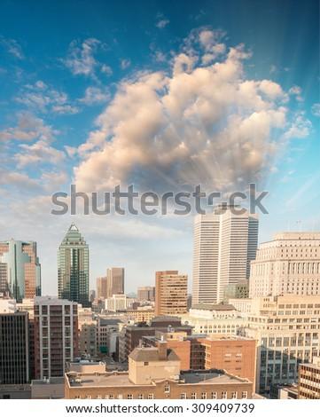Beautiful Montreal aerial skyline. - stock photo
