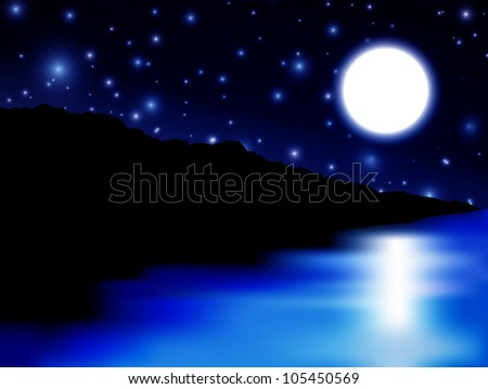 Beautiful Moon over sea and island - RASTER version - stock photo