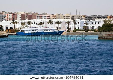 beautiful moored yacht - stock photo