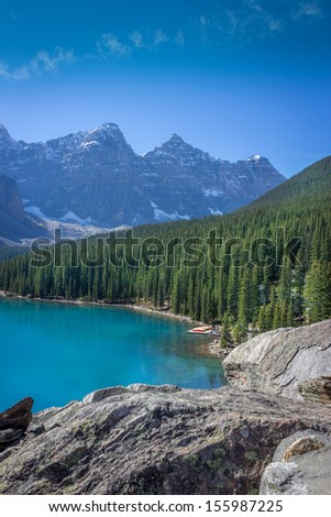 Beautiful Moraine Lake in Banff National Park, Alberta, Canada  - stock photo