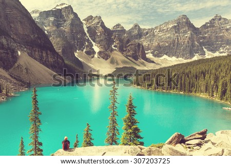 Beautiful Moraine lake in Banff National park,Canada