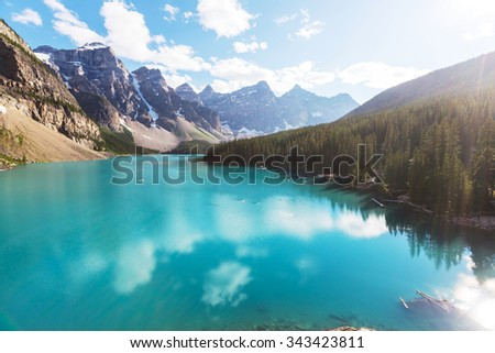 Beautiful Moraine lake in Banff National park, Canada - stock photo