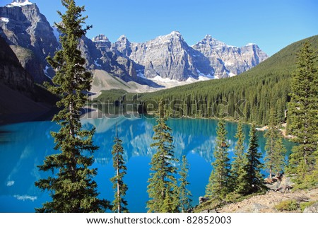 Beautiful Moraine Lake in Banff National Park, in Alberta, Canada - stock photo