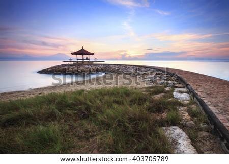 Beautiful morning at Karang beach, Sanur in Bali, Indonesia - stock photo