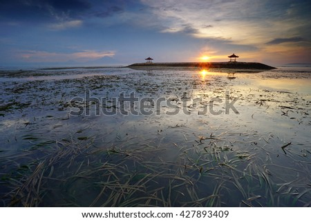 Beautiful morning at Karang beach, Sanur in Bali, Indonesia. - stock photo