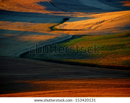 Beautiful morning colors in Tuscany, Italy - stock photo
