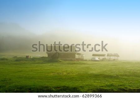 Beautiful morning haze on alpine plateau - stock photo