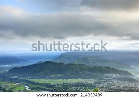 Beautiful morning landscape at Pokhara - stock photo
