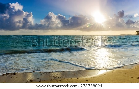 Beautiful morning on the caribbean beach in Dominican Republic