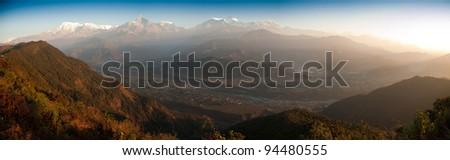 Beautiful morning panorama view of the Himalayan mountains when see from Sarangkot, Pokhara, Nepal - stock photo