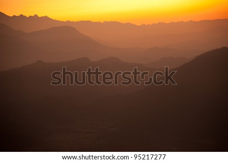 Beautiful morning view and sunrise time of the Himalayan mountains when see from Sarangkot, Pokhara, Nepal - stock photo