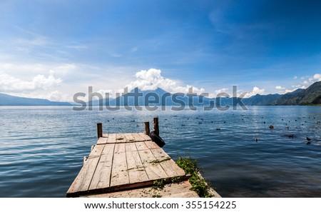 Beautiful morning view of Lake Atitlan, Guatemala.   - stock photo
