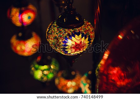 beautiful moroccan lamps in the market bright oriental background
