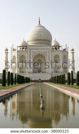 Beautiful mosque Taj Mahal. Agra, India. It's one of Seven Wonders of the World. - stock photo