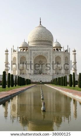 Beautiful mosque Taj Mahal. Agra, India. It's one of Seven Wonders of the World. - stock photo