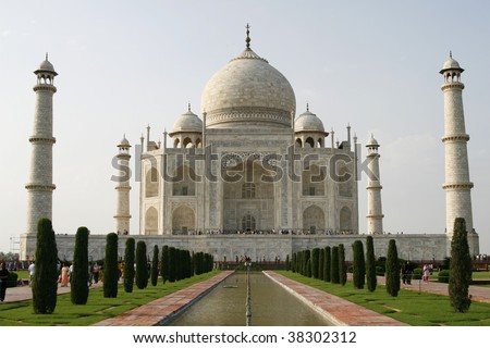 Beautiful mosque Taj Mahal. Agra, India. It's one of Seven Wonders of the World.