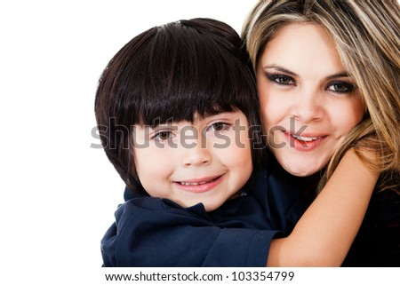 Beautiful mother and son smiling - isolated over a white background