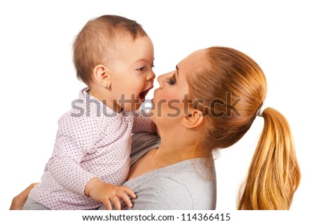 Beautiful mother talking with amazed baby girl isolated on white background