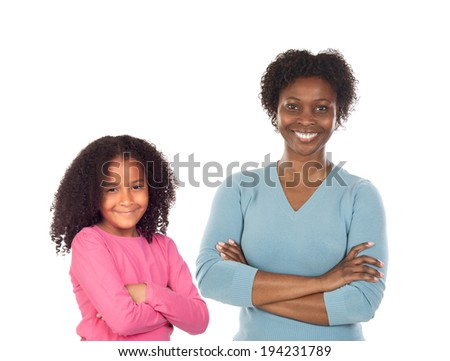Beautiful mother with her daughter isolated on a white background - stock photo
