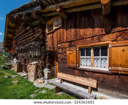 Beautiful Mounain Landscape in the Alps, in St. Antönien, Switzerland - stock photo