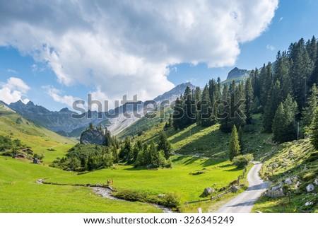 Beautiful Mounain Landscape in the Alps, in St. Antnien, Switzerland - stock photo