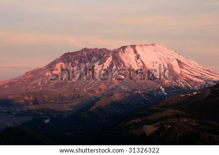 Beautiful Mount St. Helens national volcanic monument in the sunset glow - stock photo
