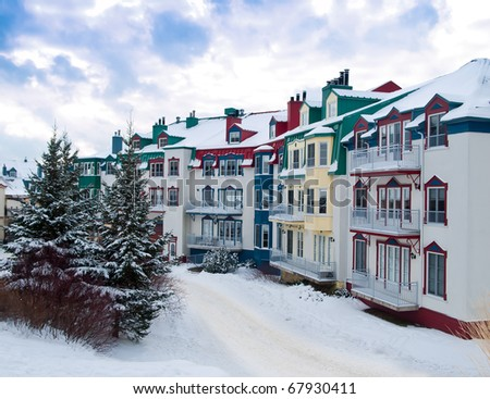 Beautiful Mount-Tremblant village in ski resort in winter view Canada - stock photo