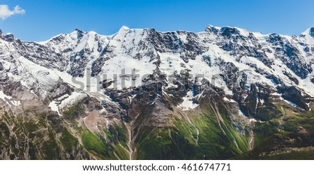 beautiful mountain and glaciers on summer with clear sky, View of Jungfrau, Schilthorn Switzerland