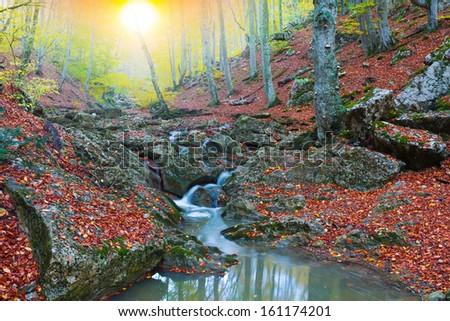beautiful mountain canyon - stock photo