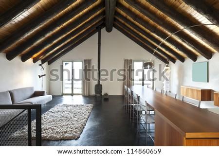 beautiful mountain home with modern furniture - stock photo