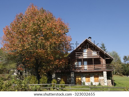 Beautiful mountain house with a colourful tree - stock photo