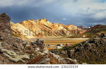Beautiful mountain in camping Brenisteinsalda, area of Landmannalaugar, Fjallabak Nature Reserve Central Iceland. This area is a popular tourist destination and hiking hub in Iceland's highlands.   - stock photo