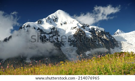 Beautiful mountain in Caucasus with snow summit
