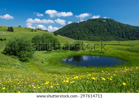 Beautiful mountain lake at Gornje Bare place, Sutjeska National Park - stock photo