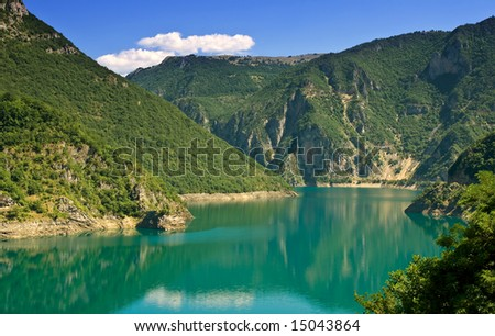 beautiful mountain lake in the summer time