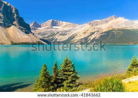 Beautiful mountain lake, Jasper National Park, Canada, Alberta - stock photo