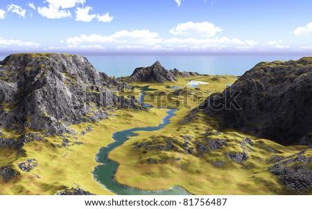Beautiful mountain landscape - stock photo