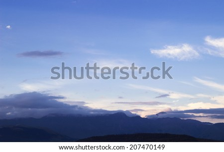 beautiful mountain landscape and cloudy sky