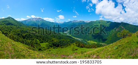 Beautiful mountain landscape, Caucasus, Russia. View of the Big Caucasian ridge - stock photo