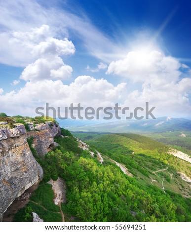 Beautiful mountain landscape. Composition of nature. - stock photo