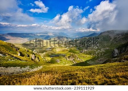 beautiful mountain landscape from the highest european road Transalpina , Romania - stock photo