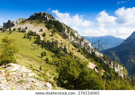 Beautiful mountain landscape in cloudy  day. Pyrenees, Spain  - stock photo