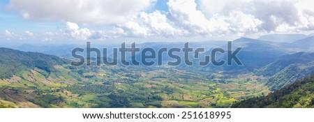 Beautiful mountain landscape in Northern Thailand. Phu Ruea National Park. - stock photo