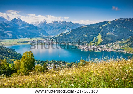 Beautiful mountain landscape in the Alps with Zeller Lake in Zell am See, Salzburger Land, Austria - stock photo