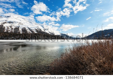 beautiful mountain landscape, lake frozen