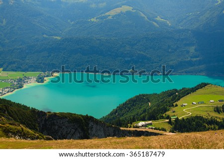 Beautiful mountain landscape with alpine lake.
