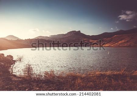 beautiful mountain landscape with lake in Crimea, Ukraine - stock photo