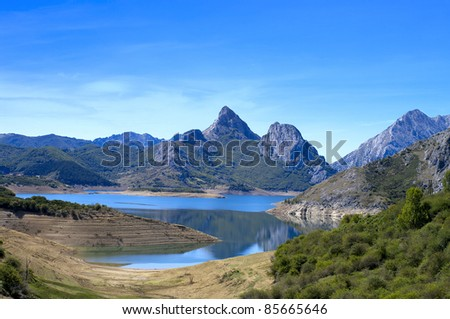 Beautiful mountain landscape with small lake in Spain. - stock photo