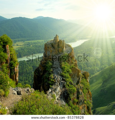 Beautiful mountain landscape with sunshine - stock photo